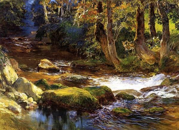 River Landscape with Deer